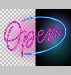 open neon sign vector image