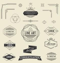 set of retro vintage linear thin line art deco vector image vector image
