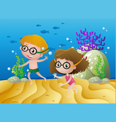 two kids diving under the sea vector image vector image