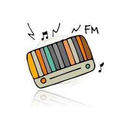 vintage radio sketch for your design vector image vector image