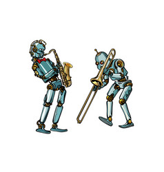 brass band musicians robots saxophone and vector image vector image