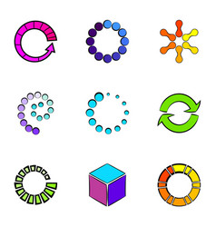 circle icons set cartoon style vector image vector image