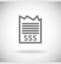 receipt icon piece of paper with dollar sign vector image vector image