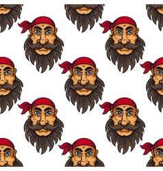 Seamless pattern of a bearded pirate or sailor vector