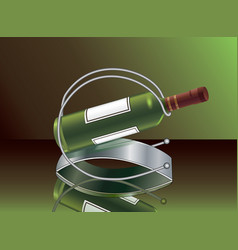 wine bottle with the support for wine vector image vector image