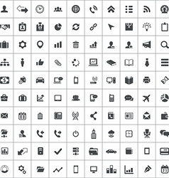 100 corporate icons vector image
