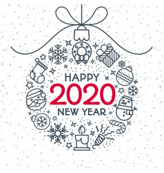 2020 christmas ball with holiday toys vector image