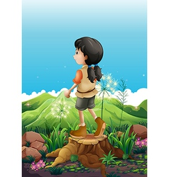 A girl standing above a stump vector