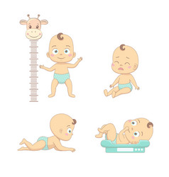 Adorable happy baand his daily routine care vector