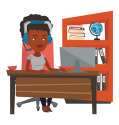 African-american woman playing computer game vector