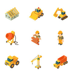 Agricultural technician icons set isometric style vector