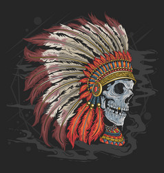Apache american indian skull head tattoo artwork w vector