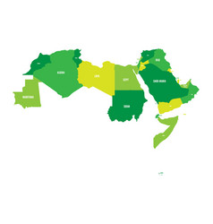 arab world states political map of 22 arabic vector image