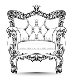 Baroque luxury armchair furniture with victorian vector
