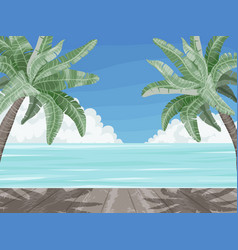 beach and palm trees summer time paradise banner vector image
