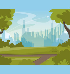 beautiful green summer city park landscape view vector image