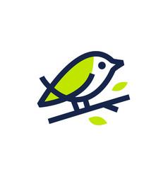 bird leaf monoline logo icon vector image