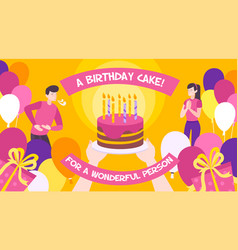 birthday cake background vector image