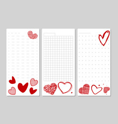 Blocks for notes and lists with hand drawn hearts vector
