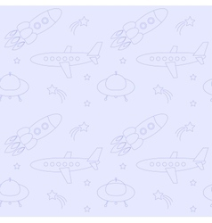 Blue seamless pattern with planes rockets vector image