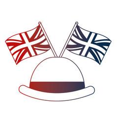 Bowler hat elegance english flags vector