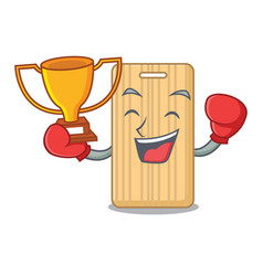 Boxing winner wooden cutting board mascot cartoon vector