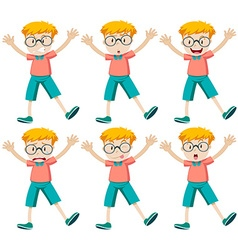 Boy with different facial expressions vector image
