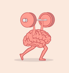 brain lifting weights over head vector image