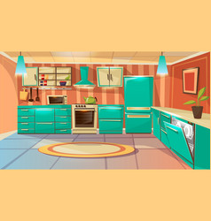 cartoon modern kitchen interior background vector image