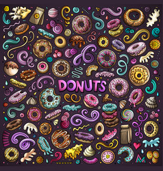 Cartoon set of donuts objects and symbols vector
