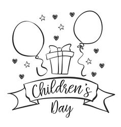 children day hand draw doodles vector image