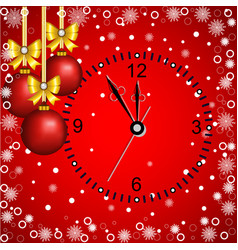 christmas card with decoration and clock on a red vector image