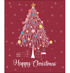 Christmas tree line happy christmas card vector