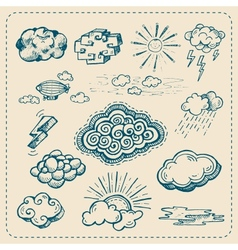 collection of hand drawn cloud icons vector image