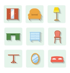 Colored flat icons furniture set vector
