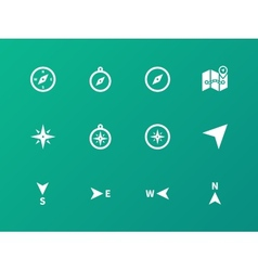 Compass icons on green background vector image