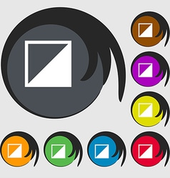 Contrast icon sign Symbols on eight colored vector
