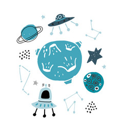 Creative space childish print with moon planet vector