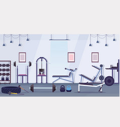 Crossfit health club studio with workout equipment vector