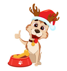 cute dog wearing santa claus hat and deer antlers vector image
