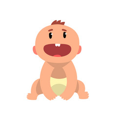 cute little baby in a diaper sitting on the floor vector image