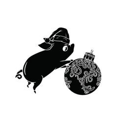 Cute piggy pushing a christmas tree ball black vector