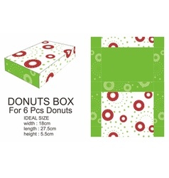 Dark Red and Green Donuts Box vector
