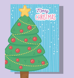 decorated tree star balls merry christmas vector image
