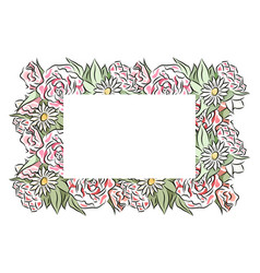 Delicate frame hand drawn roses and chamomiles vector