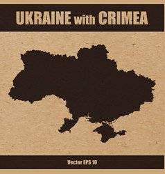 Detailed map ukraine with crimea on craft paper vector