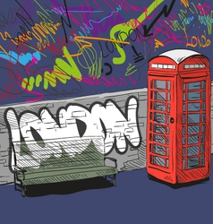 Drawing red english phone booth vector