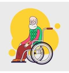 Elderly man sit in wheelchair Caring for seniors vector