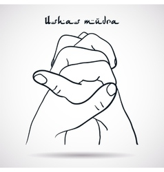 Element yoga Ushas mudra hands vector