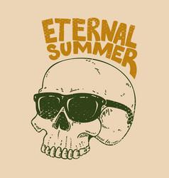 eternal summer skull in sunglasses on grunge vector image